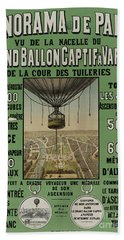 Bath Towel featuring the photograph Vintage Poster Of Great Balloon View Of Paris 1878 by John Stephens