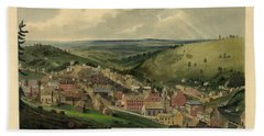 Hand Towel featuring the photograph Vintage Pottsville Pennsylvania Etching With Remarque by John Stephens