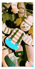 Vintage Pull-string Puppet Carnival Hand Towel