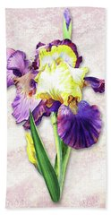 Vintage Purple Watercolor Iris Bath Towel