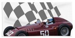 Vintage Racing Car And Flag 1 Bath Towel