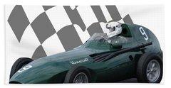 Vintage Racing Car And Flag 5 Hand Towel
