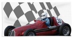 Vintage Racing Car And Flag 6 Bath Towel