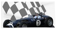 Vintage Racing Car And Flag 8 Hand Towel