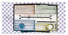 Vintage Radio Purple Dots Mug Bath Towel