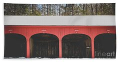 Bath Towel featuring the photograph Vintage Red Carriage Barn Lyme by Edward Fielding
