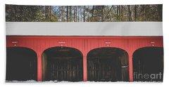 Vintage Red Carriage Barn Lyme Bath Towel by Edward Fielding