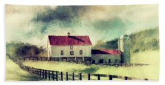 Hand Towel featuring the digital art Vintage Red Roof Barn by Lois Bryan