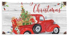Vintage Red Truck Christmas-a Hand Towel