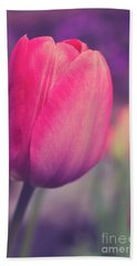 Bath Towel featuring the photograph Vintage Red Tulip Flower by Edward Fielding