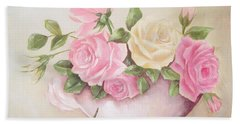 Vintage Roses Shabby Chic Roses Painting Print Bath Towel by Chris Hobel