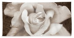 Bath Towel featuring the photograph Vintage Sepia Rose Flower by Jennie Marie Schell