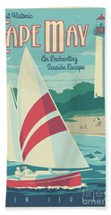 Vintage Style Cape May Lighthouse Travel Poster Bath Towel by Jim Zahniser