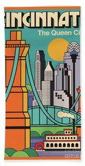 Vintage Style Cincinnati Travel Poster Bath Towel