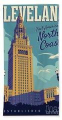 Vintage Style Cleveland Travel Poster - America's North Coast Bath Towel