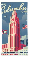 Vintage Style Columbus Travel Poster Hand Towel by Jim Zahniser