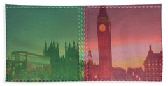 Vintage Style Wall Decorations London Clock Tower And Double Deckker Bus Bath Towel