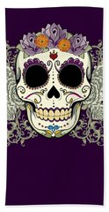 Vintage Sugar Skull And Flowers Hand Towel
