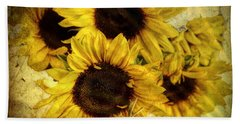 Vintage Sunflowers Bath Towel