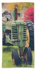 Vintage Tractor Autumn Bath Towel by Edward Fielding