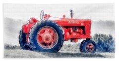 Vintage Tractor Watercolor Hand Towel