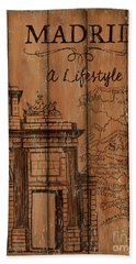 Hand Towel featuring the painting Vintage Travel Madrid by Debbie DeWitt