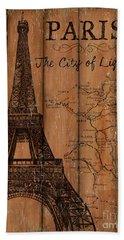 Vintage Travel Paris Hand Towel by Debbie DeWitt