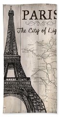 Vintage Travel Poster Paris Hand Towel