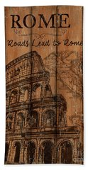 Hand Towel featuring the painting Vintage Travel Rome by Debbie DeWitt