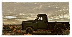Vintage Truck Two In Pumpkin Graveyard Bath Towel