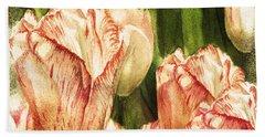 Vintage Tulips Watercolor Art Hand Towel