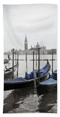 Vintage Venice In Black, White, And Blue Bath Towel