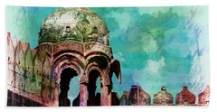 Vintage Watercolor Gazebo Ornate Palace Mehrangarh Fort India Rajasthan 2a Bath Towel