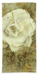 Vintage White Flower Art Bath Towel