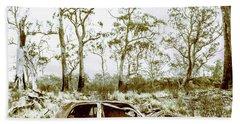 Vintage Winter Car Wreck Hand Towel