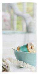 Vintage Wooden Spools Of Thread In Vintage Tea Cup Hand Towel
