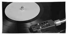 Vinyl Record Playing On A Turntable Overview Hand Towel