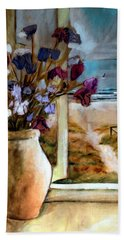 Violet Beach Flowers Hand Towel by Winsome Gunning