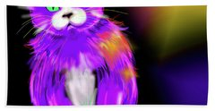 Bath Towel featuring the painting Violet Dizzycat by DC Langer