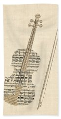 Violin Old Sheet Music Hand Towel