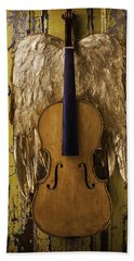Violin With Wings Bath Towel