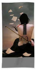 Violin Woman Bath Towel