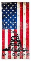 Viper On American Flag On Old Wood Planks Vertical Bath Towel