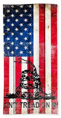 Viper On American Flag On Old Wood Planks Vertical Hand Towel