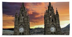 Virgen De El Panecillo And Basilica Del Voto Nacional IIi Bath Towel
