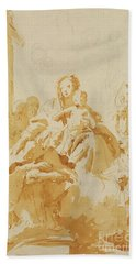 Virgin And Child Adored By Bishops, Monks And Women Bath Towel
