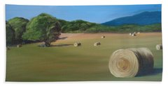 Bath Towel featuring the painting Virginia Hay Bales by Donna Tuten