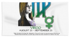 Virgo Sun Sign Hand Towel by Shelley Overton