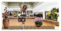 Virtual Exhibition - A Girl With A Pairro Dress Bath Towel by Danail Tsonev