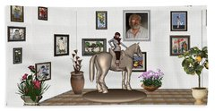 Bath Towel featuring the mixed media Virtual Exhibition Horsewoman 13 by Pemaro